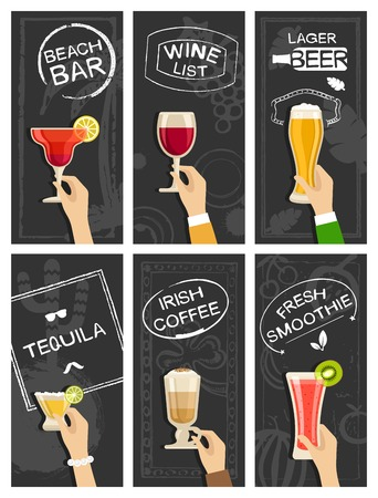 summer holidays: Drinks bar banners vector set Illustration