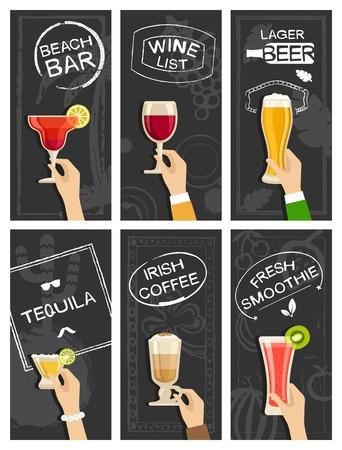 Drinks bar banners vector set Vettoriali