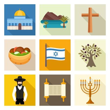 flag of israel: Israel icon set Illustration