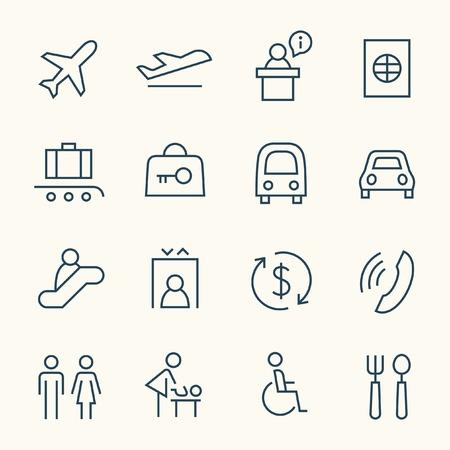 Airport line icon set