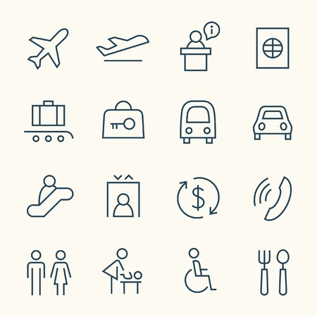 waiting in line: Airport line icon set