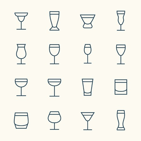 brandy glass: Alcohol beverages icon set