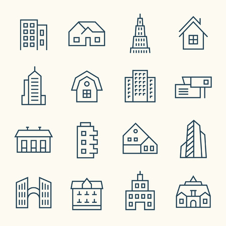 Buildings line icon set Illustration