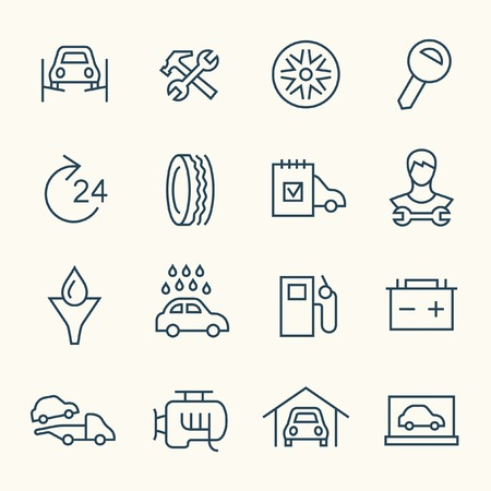 auto shop: Car service line icon set