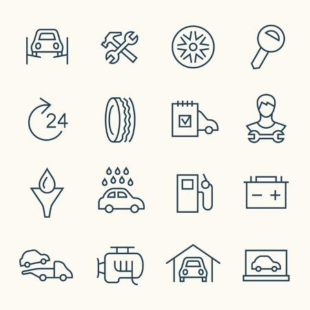bateria: Servicio de coche icono de línea de set Vectores