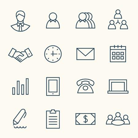 Business line icon set Vectores
