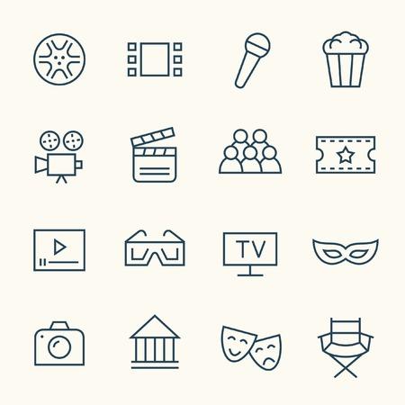 lineal: Cine icono de línea de set