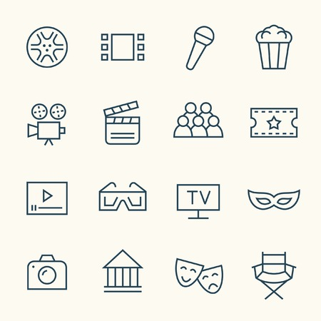 funny glasses: Cinema line icon set