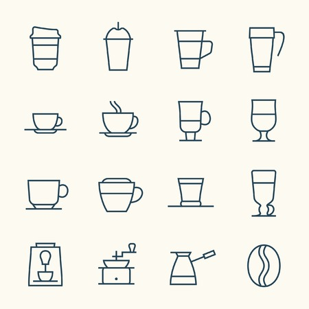 coffee cup vector: Coffee line icon set Illustration