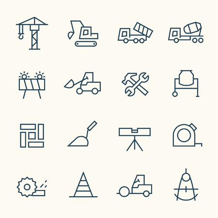 construction icon: Construction line icon set