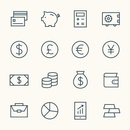 Finance line icon set Çizim