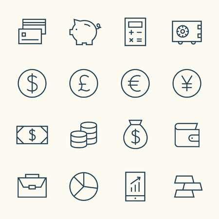 Finance line icon set Illustration