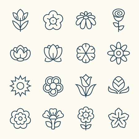 patterns vector: Flowers line icon set