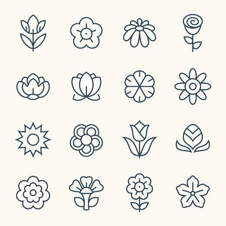 Flowers line icon set