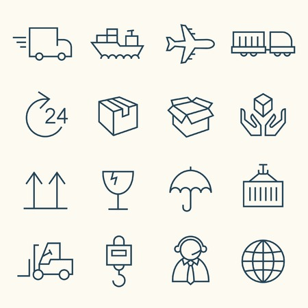 shipping by air: Logistics line icon set Illustration