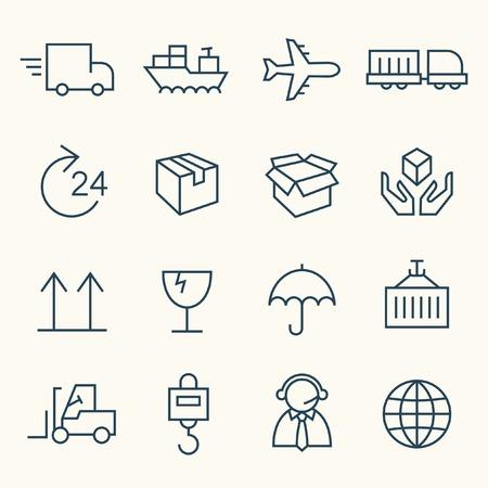 szállítás: Logisztikai vonal ikon készlet