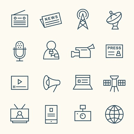 tv network: Media line icon set Illustration