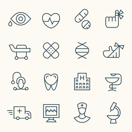medical icon: Medical line icon set