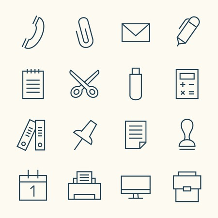 people in line: Office line icon set