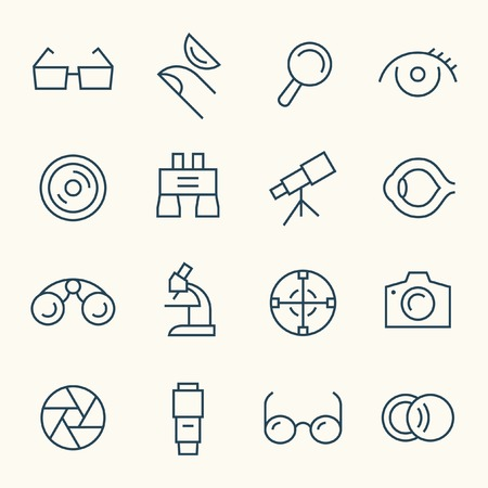 contact lens: Optical line icon set Illustration