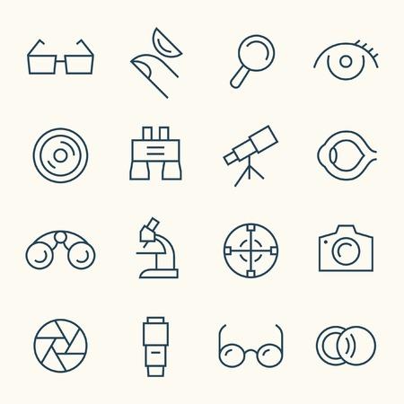optical: Optical line icon set Illustration