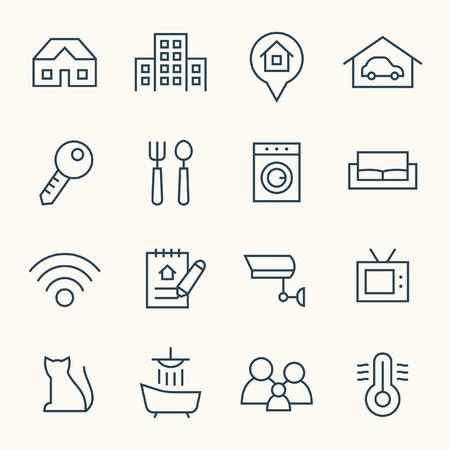Real Estate lijn icon set Stock Illustratie