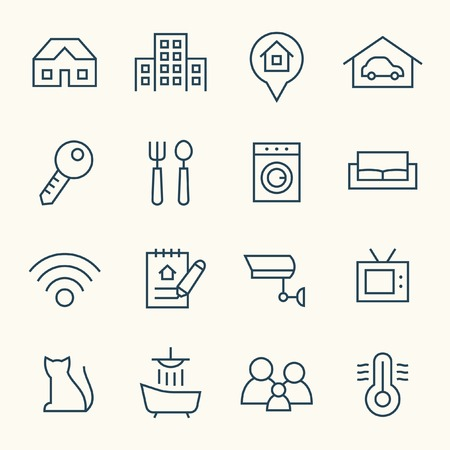 hospitality: Real Estate line icon set