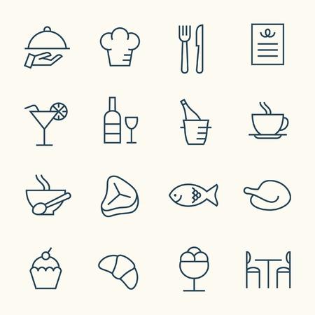 Restauracja zestaw ikon Ilustracje wektorowe