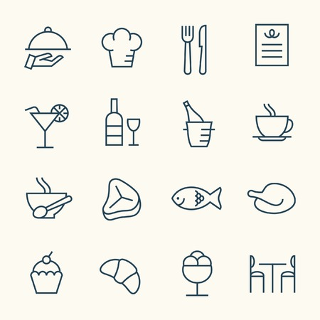 meat dish: Restaurant icon set