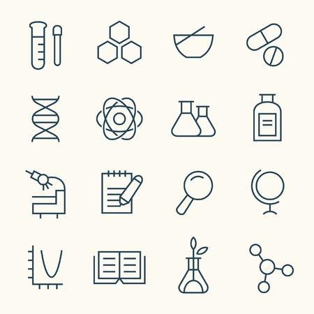 Science line icon set