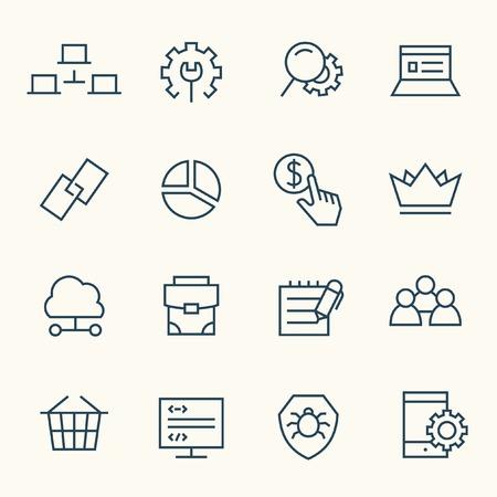 copywriting: SEO line icon set