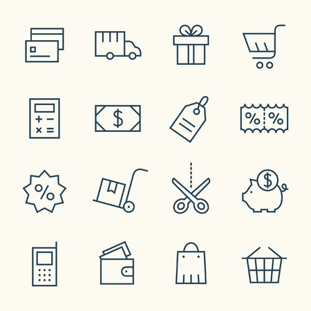 Shopping icon set Linea Archivio Fotografico - 43211443