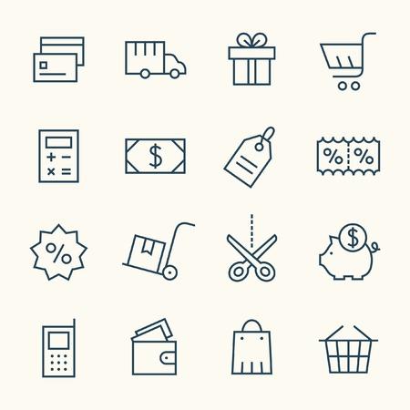 Winkelen lijn icon set
