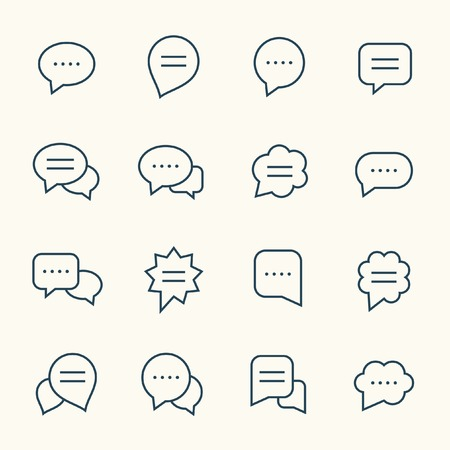 speech icon: Speech bubble line icon set
