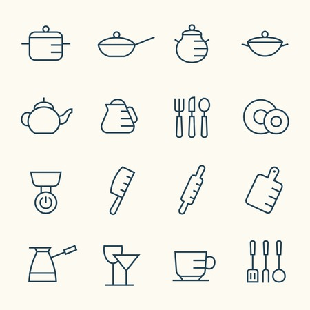 coffee cup vector: Kitchen utensils icon set