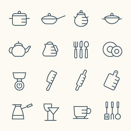 fryer: Kitchen utensils icon set