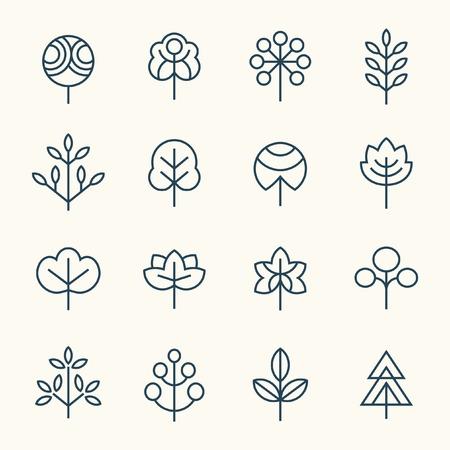 Trees line icon set Çizim