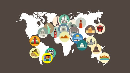 Travel landmarks on the world map Stock Vector - 43211450