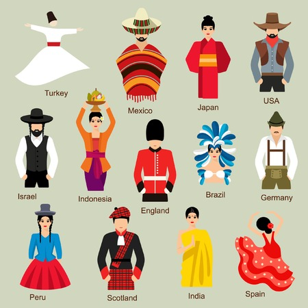 clothes cartoon: Traditional costumes