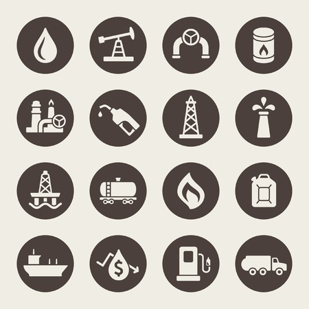 flaring: Oil industry icon set
