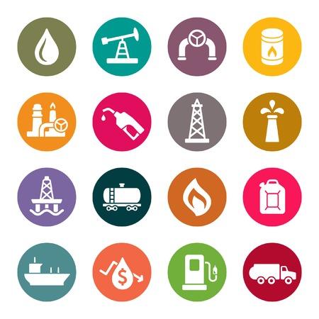 tanque de combustible: La industria petrolera conjunto de iconos Vectores