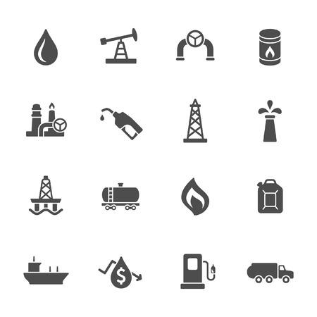 industria petrolera: La industria petrolera conjunto de iconos Vectores