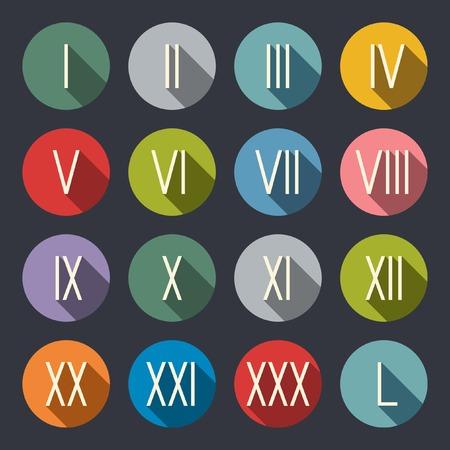 numeros romanos: Números romanos icon set plana
