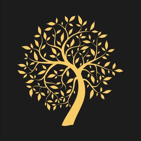 Gold tree on black 일러스트