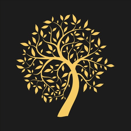 Gold tree on black Illustration