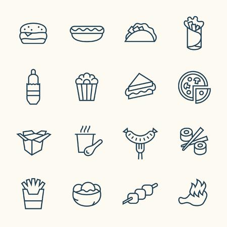 Fastfood lijn icon set Stock Illustratie