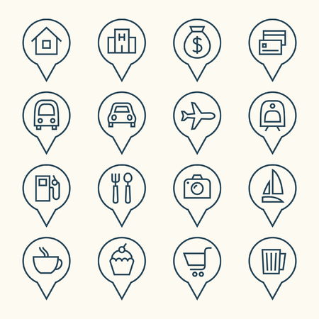 map pointers: Map pointers icons Illustration