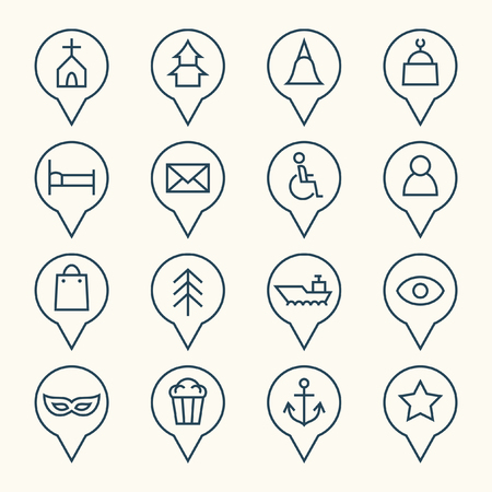 places of interest: Map pointers icons Illustration