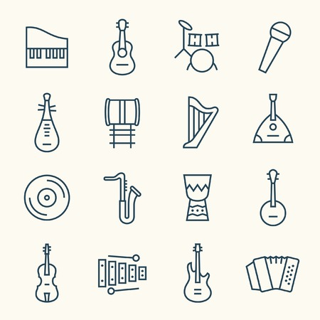 piano roll: Music instruments icons
