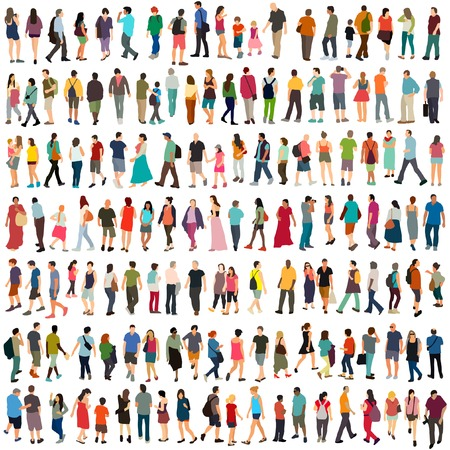 business people walking: Vector people large set Illustration